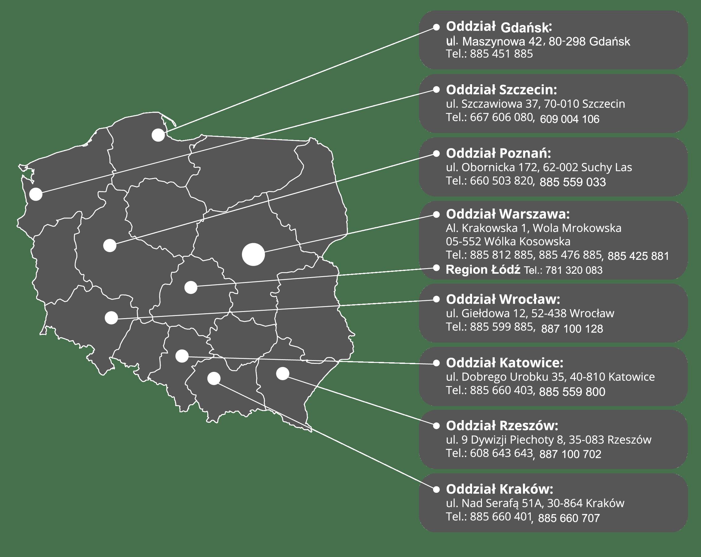 Mapka oddziałów Mobilbox Polska